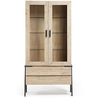 Spike - vitrine bois et métal 2 tiroirs 2 portes