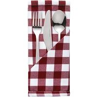 Serviettes à carreaux rouges en polyester mitre...