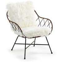 Claren - fauteuil design en métal et rotin