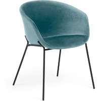 Kave home - chaise yvette velours turquoise