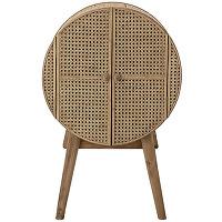 Otto - meuble de rangement rond en bois et cannage